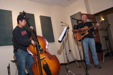Duo playing in the GCC Recording Studio