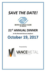 Save the Date for the Boys & Girls Club 21st Annual Dinner
